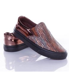 Csíkos mintás, sarkán lakkos belebújós lány slip-on cipő (X-2612)