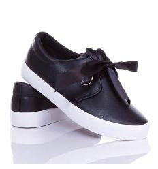 Selyem szalagos, megkötős, női műbőr slip-on cipő (WL-003)
