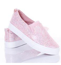 Csipkés-flitteres, mintás, lábfejnél gumis női belebújós, slip-on cipő (NB77)