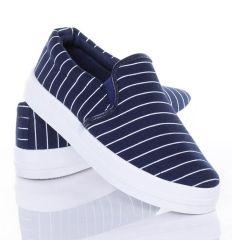 Csíkos, vastag talpú belebújós női vászon slip-on cipő (JX12)