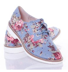 Virágos, strasszköves, fűzős női vászon cipő (GG-15P)