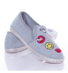 Mintás, farmeres anyagú, oldalt gumis női belebújós vászon cipő (JX47)
