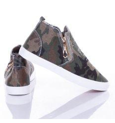Terepmintás, oldalt gumis-cipzáros, magasszárú női vászon cipő (WL-009)