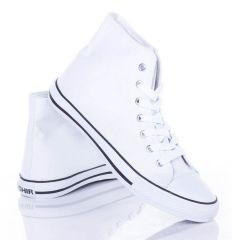 Egyszínű, fűzős, magasszárú férfi vászon tornacipő (CQ-43)