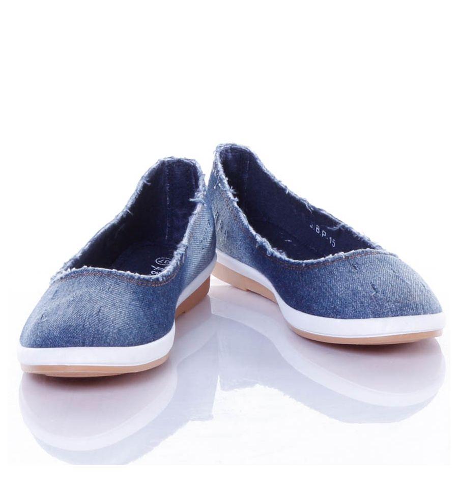 Farmeres anyagú, belebújós női vászon balerina cipő