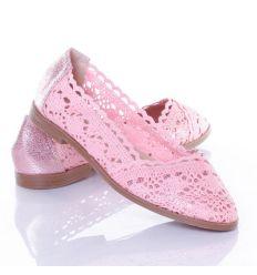 Horgolt, sarkán és orrán fényes női balerina cipő (LK11)