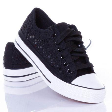 Horgolt, fűzős női vászon tornacipő (NB89)