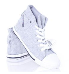 Egyszínű, szárán zseb díszítésű uniszex vászon tornacipő (CQ-10)