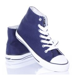 Egyszínű, magasszárú uniszex vászon tornacipő (CQ-03)