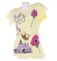 Holly Chic gondolás, virágos mintás női pamut denevérujjú felső