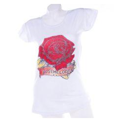 Rosemelody, nagy rózsás pamut női hosszított póló, felső