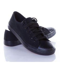 6 fűzős egyszínű uniszex vászon tornacipő (BL39)