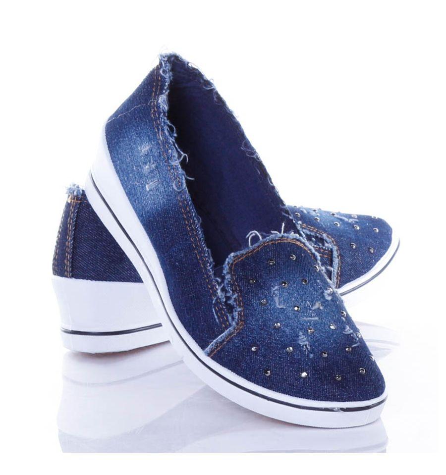 6d91f11be0 Strasszköves, szaggatott, farmeres női éksarkú vászon cipő (J.B.P-5) ...