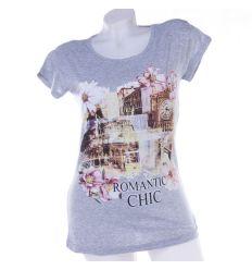 """""""Romantic chic"""" virágos, városképes női hosszított pamut felső"""