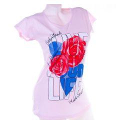 Live Your Life, rózsa mintás pamut női hosszított felső