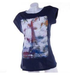 Párizs, Eiffel torony mintás, denevérujjú, pamut női ujjatlan felső
