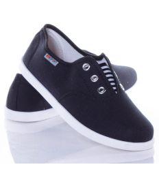 Csíkos gumis, egyszínű női vászon cipő belebújós (AS9507,AS9508)