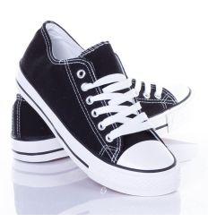 Oldalt csíkos, 6 fűzős uniszex vászon tornacipő (BL18)