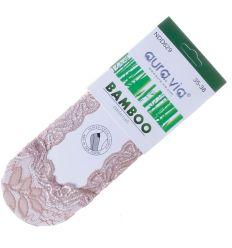 Csipkés, talpán bambuszos anyagú, csúszásgátlós női balerina titok zokni (NDD629)