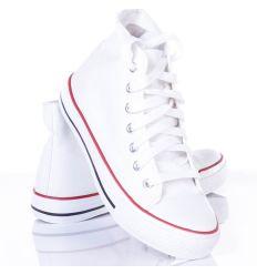 Magasszárú, fűzős egyszínű női vászon tornacipő (P-19)
