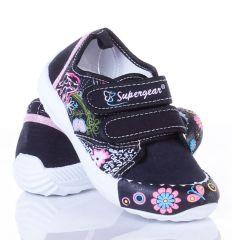 Virágos 2 tépőzáras vászon cipő lány (A9279P)