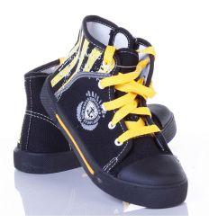 Oldalt csíkos, magasszárú fűzős-cipzáros fiú vászon cipő (A9995)
