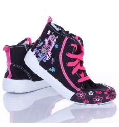 Csajos, fűzős-cipzáros, magasszárú lány vászon cipő (A9039)