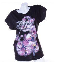 Virágos, Who Belive feliratos, denevérujjú női pamut felső, póló