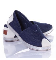 Farmeres, lábfejnél gumis női belebújós vászon cipő (HX17-7A)
