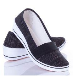 Ezüst szálas, lábfelnél gumis, éksarkú női balerina cipő (ZY1710)
