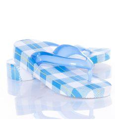 Kockás mintás, vastag talpú, lábujjközös női gumi szandál (A172-2)