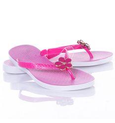 Virág díszes, lábujjközös, vatsagabb talpú női gumi papucs, flip-flop (258RZ-2)