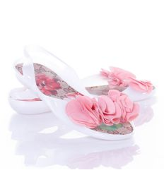 Virágos talpú, elöl fodros balerina fazonú női gumicipő (WL-6)