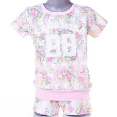 21157fe392 Elöl csipkés-virágos, rövid ujjú lány felső, póló (AS-29)