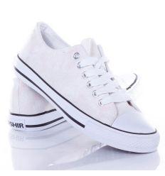 Mintás,ezüst szálas,fűzős női vászon tornacipő (CQ-18)