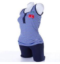 Csíkos-meggyes, atlétás rövid nadrágos pamut női pizsama (13107)