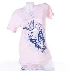 Pillangós, rövid ujjú, térdnadrágos női pamut pizsama (1104)
