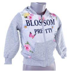 Virágos, pillangós, kapucnis lány cipzáros felső, pulóver (BY-051)