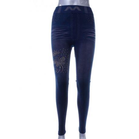 3ce56b2d32 2 pillangós köves, farmer mintás, enyhén bélelt női leggings (LT-6143)