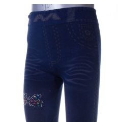 Színes pillangó mintás, farmeres, enyhén bélelt lány leggings (LT-6172)