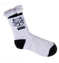 Vegyes cicás mintás, csúszásgátlós női házi zokni, mamusz (NM7377)