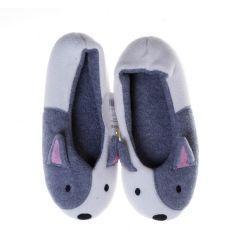 Állat figurás, balerina fazonú női mamusz cipő, gumi talpú (NM7521)