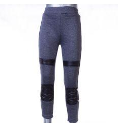 Bundás, lábszárán műbőr betétes lány nadrág, leggings (LT-7386)