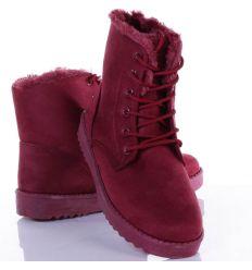Bundás, fűzős, vastagabb talpú női velúr bakancs, cipő (DD65)