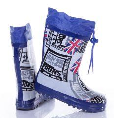 Brit zászlós, feliratos felül összehúzható fiú gumicsizma (B90-2)