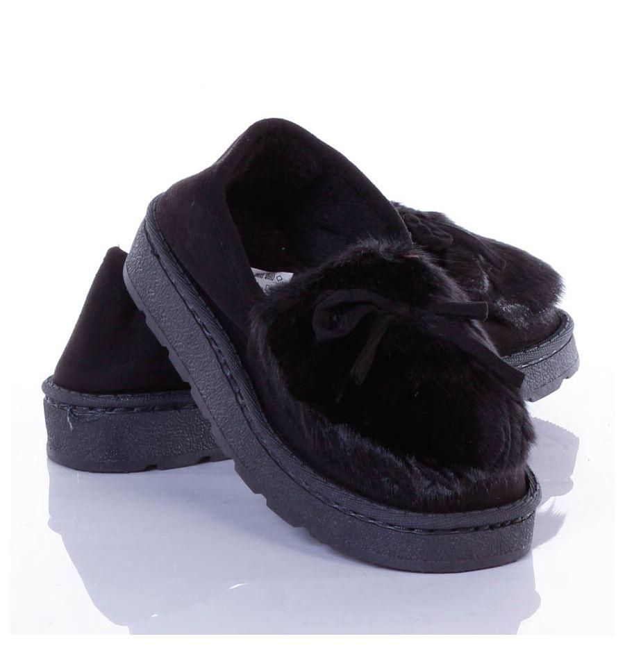 Orrán Szőrmés, masnis, vastag talpú női mamusz cipő (w8930
