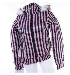 Kockás, polár béléses, kapucnis női kabát, dzseki (F22106W)
