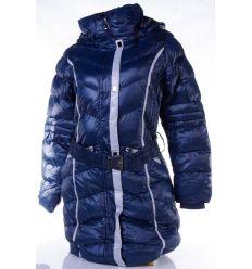 Karcsúsítás mellett vékony csíkos, bélelt, kapucnis, hosszú női kabát (MA-6616)