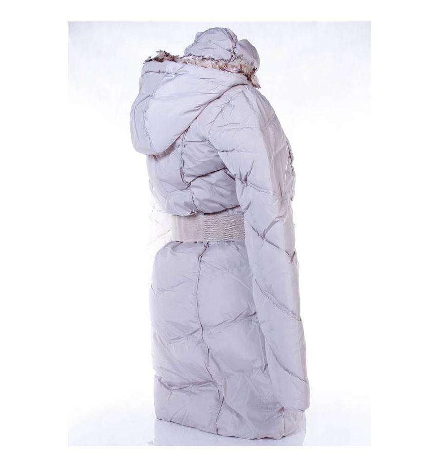 8bc11576b9 Karcsúsított, bélelt, kapucnis, steppelt mintás női hosszú kabát övvel  (MA-6625)