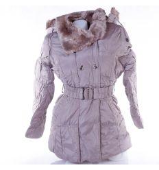 Szőrme béléses, kapucnis, karcsúsított női kabát övvel (JK-12)